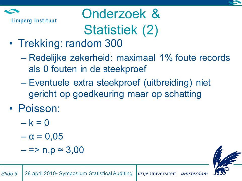 Uitkomsten (1) Drie scenario's: –k = 12 : gevonden fouten; absoluut zeker –k = 14 : fouten plus waarschijnlijk ook fout –k = 10 : 2 fouten geen documentatie Per fout NLG 12,45 effect Populatieomvang 54.549 records Berekend met α = 1% en α = 5% –Projectie, bovengrens, ondergrens Slide 10 28 april 2010- Symposium Statistical Auditing