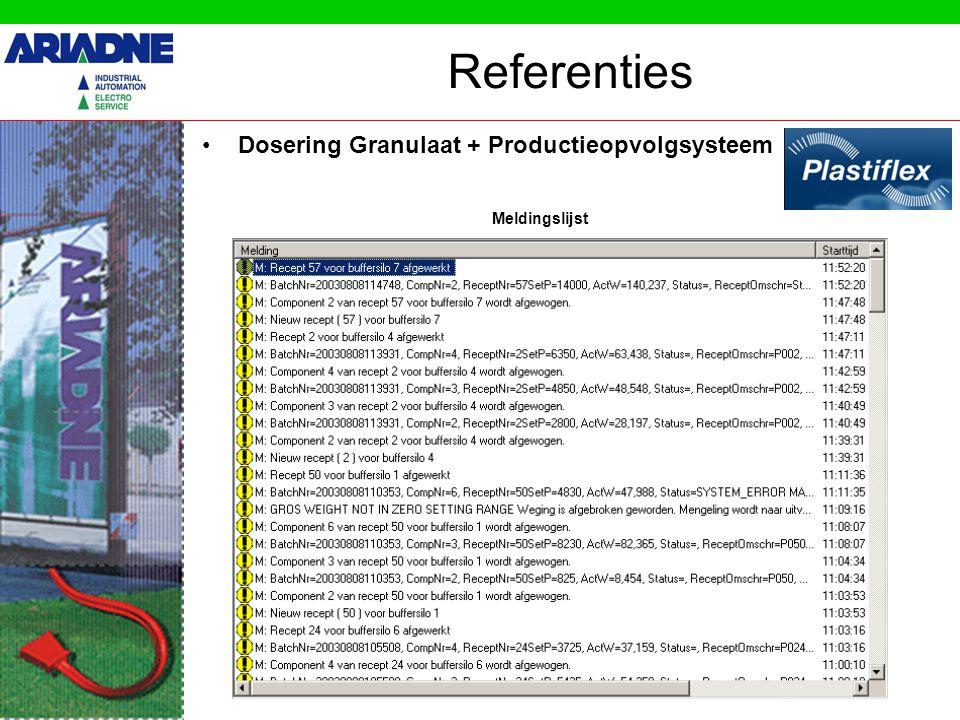 Referenties Dosering Granulaat + Productieopvolgsysteem Status v.h.