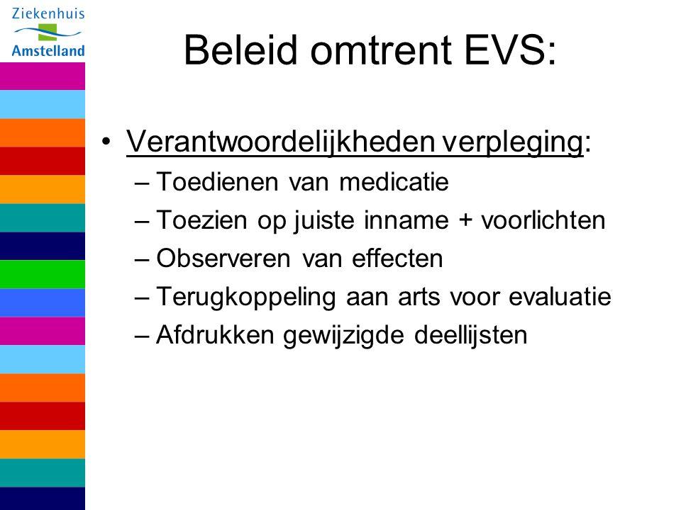 Beleid omtrent EVS: Verantwoordelijkheden verpleging: –Toedienen van medicatie –Toezien op juiste inname + voorlichten –Observeren van effecten –Terug