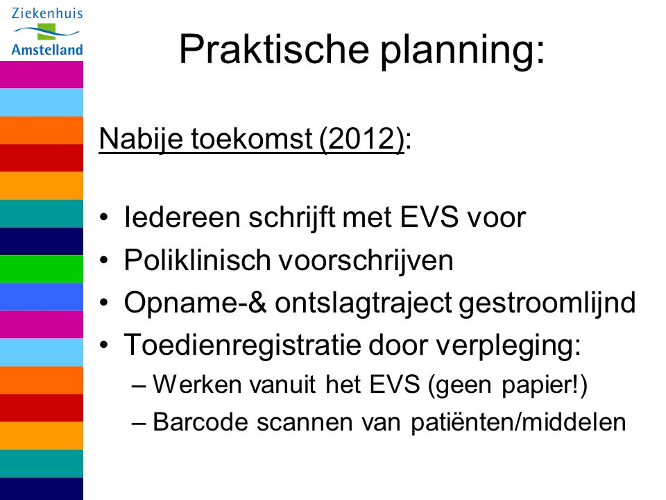 Praktische planning: Nabije toekomst (2012): Iedereen schrijft met EVS voor Poliklinisch voorschrijven Opname-& ontslagtraject gestroomlijnd Toedienre