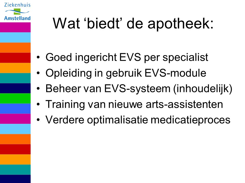 Wat 'biedt' de apotheek: Goed ingericht EVS per specialist Opleiding in gebruik EVS-module Beheer van EVS-systeem (inhoudelijk) Training van nieuwe ar