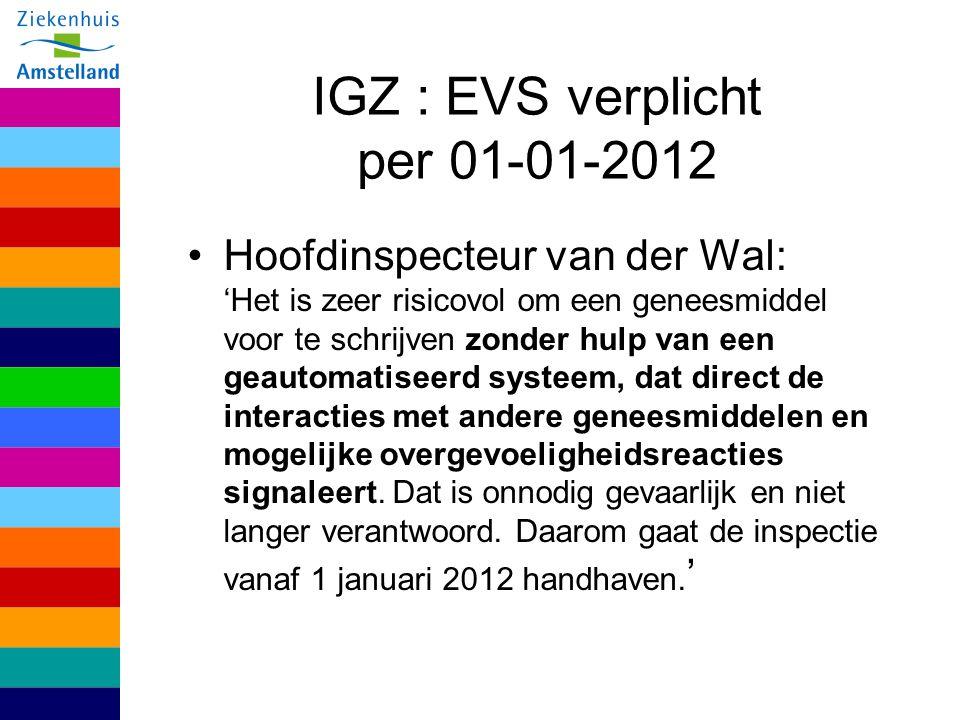 IGZ : EVS verplicht per 01-01-2012 Hoofdinspecteur van der Wal: 'Het is zeer risicovol om een geneesmiddel voor te schrijven zonder hulp van een geaut