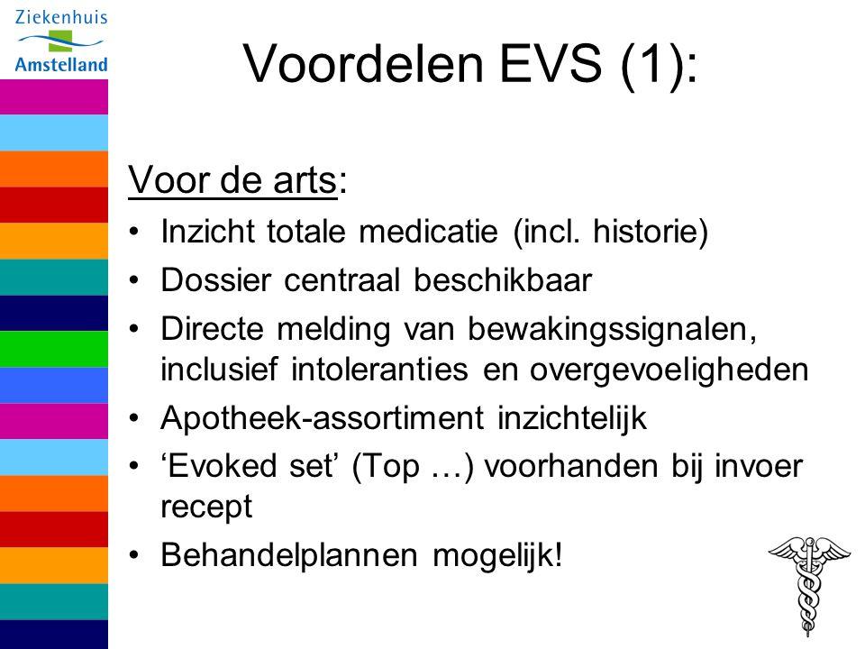 Voordelen EVS (1): Voor de arts: Inzicht totale medicatie (incl. historie) Dossier centraal beschikbaar Directe melding van bewakingssignalen, inclusi