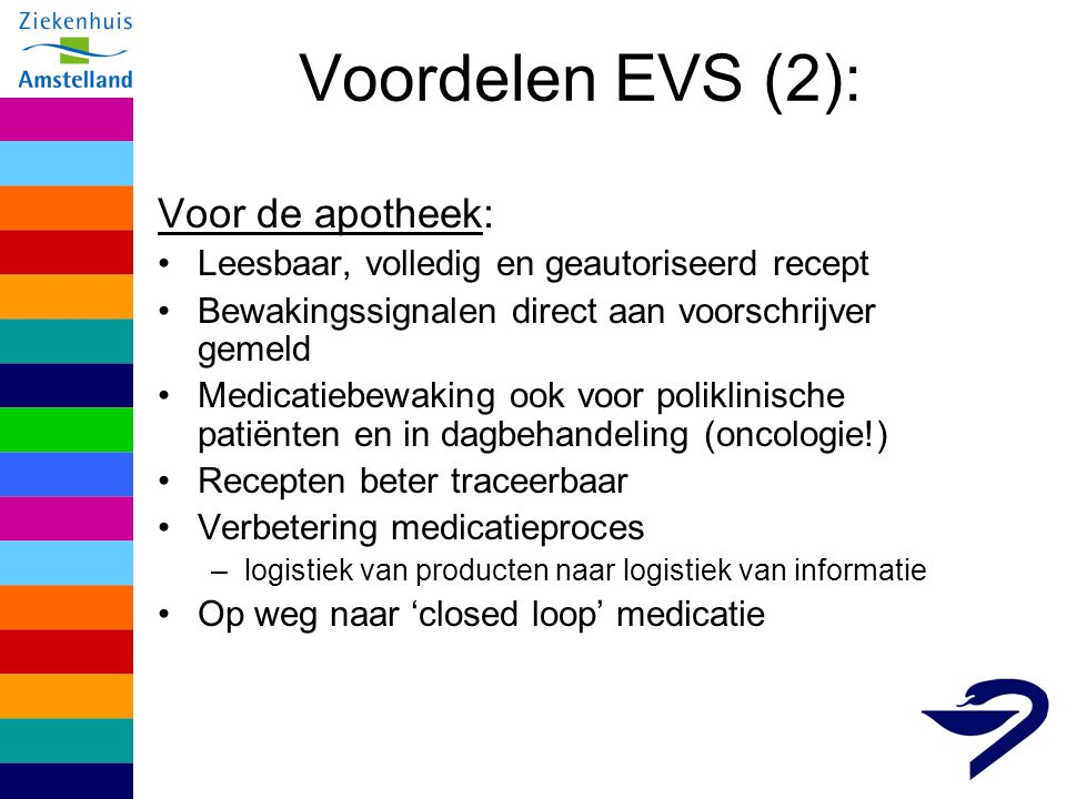 Voordelen EVS (3): Voor de verpleging: Elektronische inzage in voorgeschreven medicatie (tijd- en plaats-onafhankelijk) –Onderdeel verpleegkundig dossier Inzage laatst toegediende medicatie (ETR) –op termijn