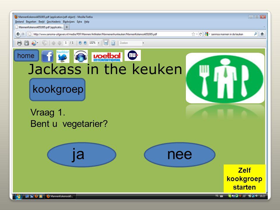 Jackass in the keuken kookgroep Vraag 1. Bent u vegetarier? janee home Zelf kookgroep starten