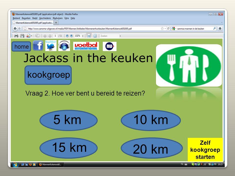 Jackass in the keuken kookgroep Vraag 2. Hoe ver bent u bereid te reizen? 5 km10 km 15 km 20 km home Zelf kookgroep starten