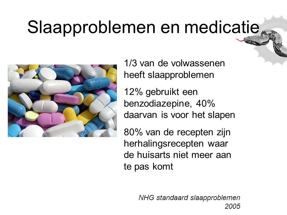 Slaapproblemen en medicatie 1/3 van de volwassenen heeft slaapproblemen 12% gebruikt een benzodiazepine, 40% daarvan is voor het slapen 80% van de rec