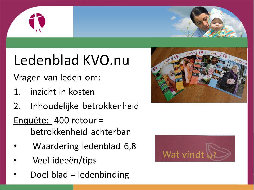 Ledenblad KVO.nu Vragen van leden om: 1.inzicht in kosten 2.Inhoudelijke betrokkenheid Enquête: 400 retour = betrokkenheid achterban Waardering ledenb