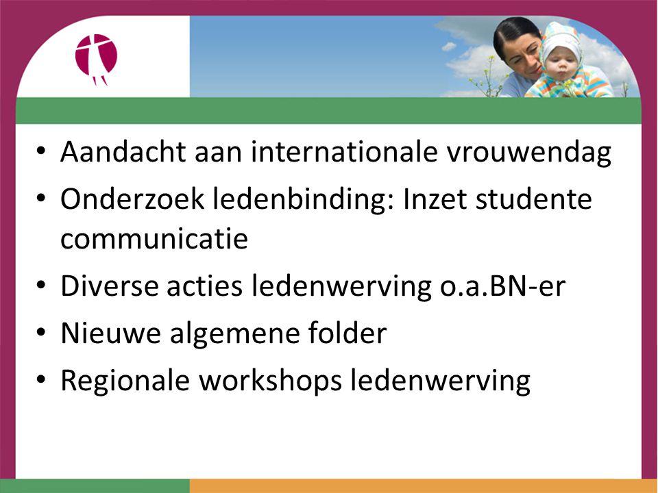 Aandacht aan internationale vrouwendag Onderzoek ledenbinding: Inzet studente communicatie Diverse acties ledenwerving o.a.BN-er Nieuwe algemene folder Regionale workshops ledenwerving