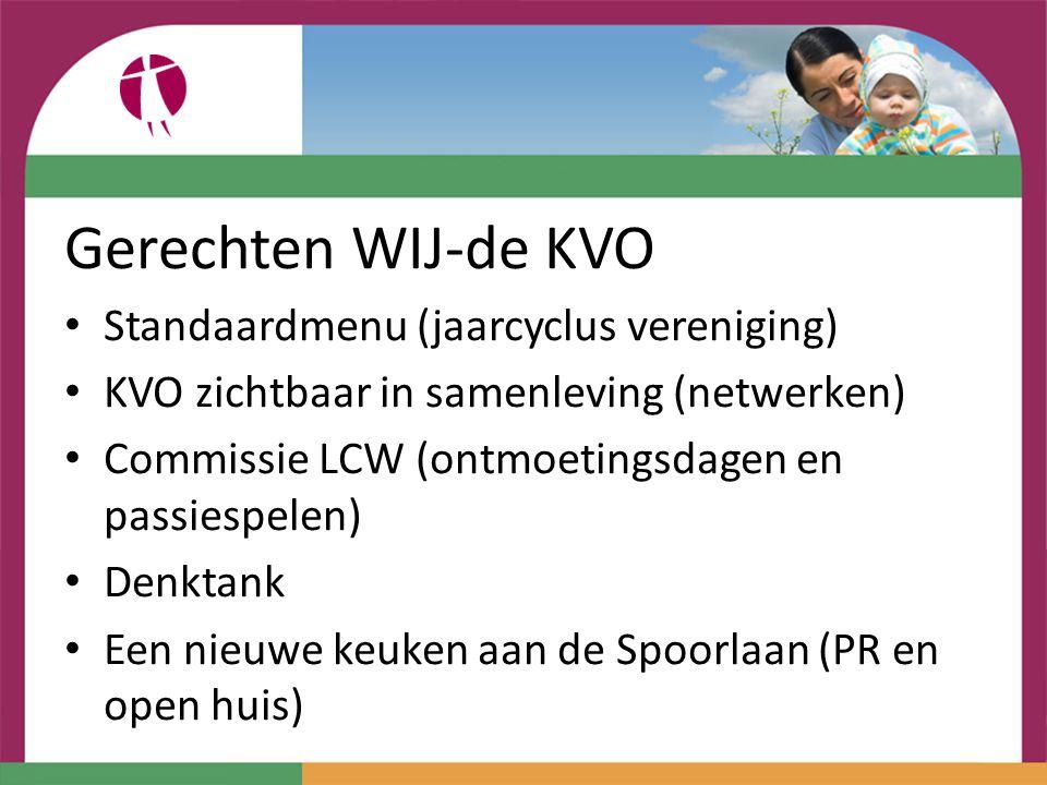 Gerechten WIJ-de KVO Standaardmenu (jaarcyclus vereniging) KVO zichtbaar in samenleving (netwerken) Commissie LCW (ontmoetingsdagen en passiespelen) D
