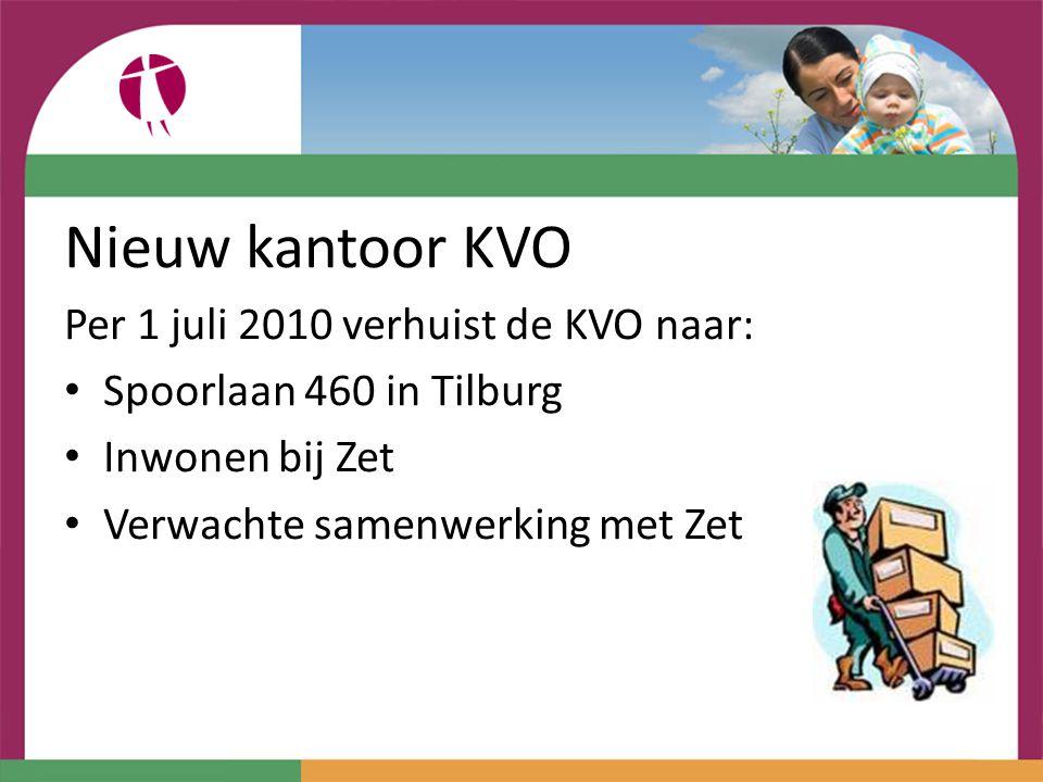 Nieuw kantoor KVO Per 1 juli 2010 verhuist de KVO naar: Spoorlaan 460 in Tilburg Inwonen bij Zet Verwachte samenwerking met Zet