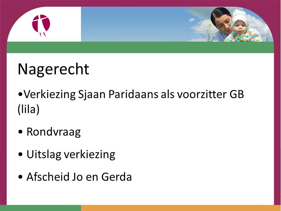 Nagerecht Verkiezing Sjaan Paridaans als voorzitter GB (lila) Rondvraag Uitslag verkiezing Afscheid Jo en Gerda