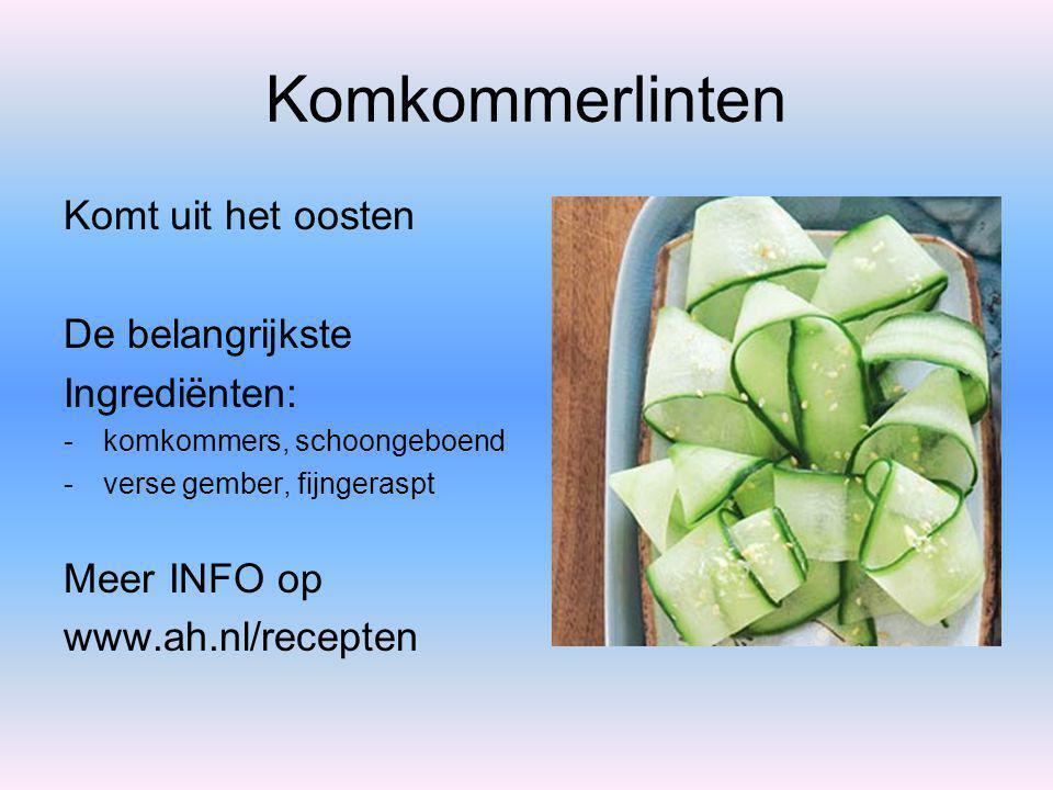 Citroengras-kipspiesje Komt uit Thailand De belangrijkste Ingrediënten: - kipfiletblokjes - stengels sereh (citroengras) Meer INFO op www.ah.nl/recept