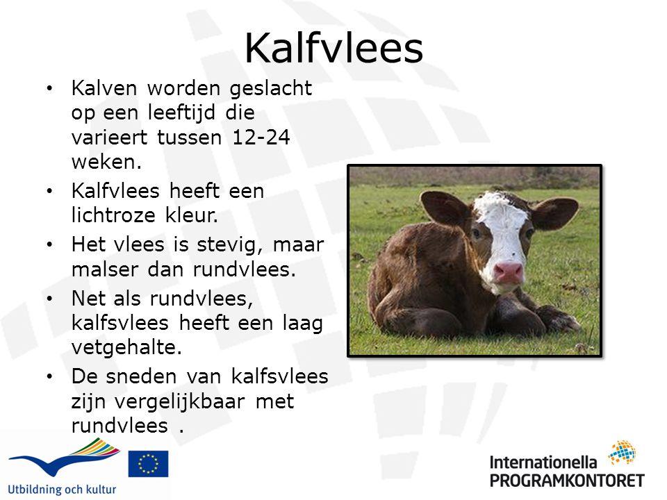 Kalfvlees Kalven worden geslacht op een leeftijd die varieert tussen 12-24 weken. Kalfvlees heeft een lichtroze kleur. Het vlees is stevig, maar malse