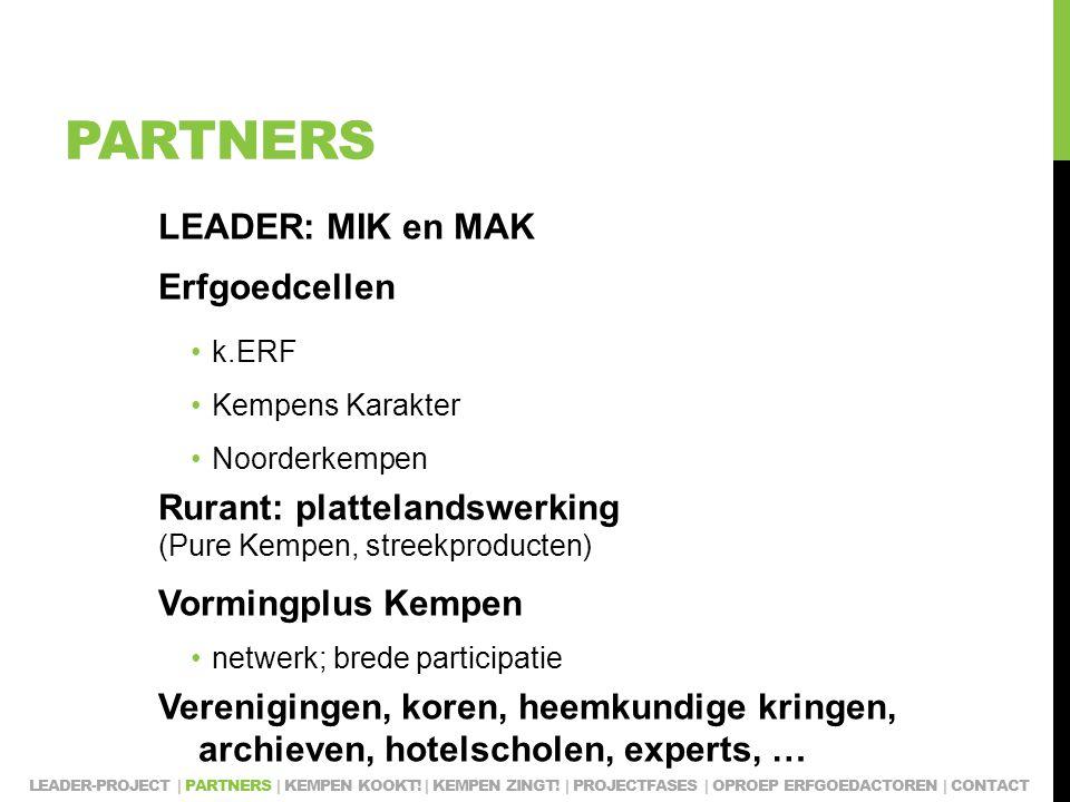 PARTNERS LEADER: MIK en MAK Erfgoedcellen k.ERF Kempens Karakter Noorderkempen Rurant: plattelandswerking (Pure Kempen, streekproducten) Vormingplus Kempen netwerk; brede participatie Verenigingen, koren, heemkundige kringen, archieven, hotelscholen, experts, … LEADER-PROJECT | PARTNERS | KEMPEN KOOKT.