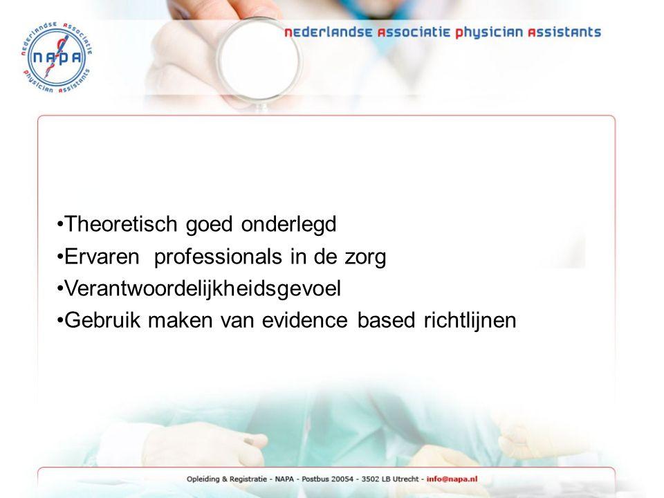 Theoretisch goed onderlegd Ervaren professionals in de zorg Verantwoordelijkheidsgevoel Gebruik maken van evidence based richtlijnen