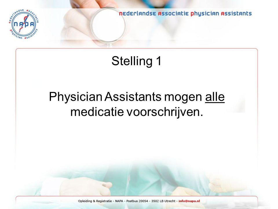 Stelling 1 Physician Assistants mogen alle medicatie voorschrijven.