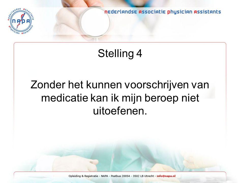 Stelling 4 Zonder het kunnen voorschrijven van medicatie kan ik mijn beroep niet uitoefenen.