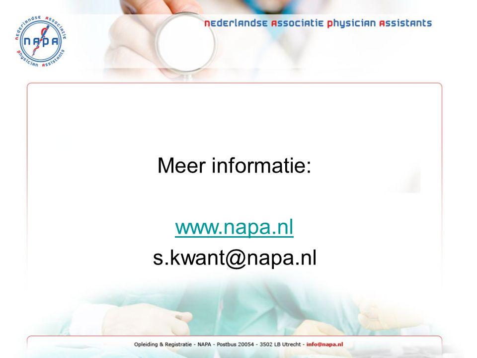 Meer informatie: www.napa.nl s.kwant@napa.nl
