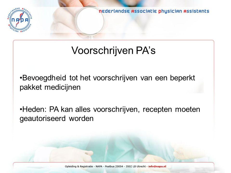 Voorschrijven PA's Bevoegdheid tot het voorschrijven van een beperkt pakket medicijnen Heden: PA kan alles voorschrijven, recepten moeten geautoriseer