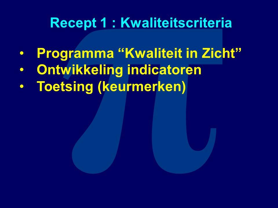 """π Recept 1 : Kwaliteitscriteria Programma """"Kwaliteit in Zicht"""" Ontwikkeling indicatoren Toetsing (keurmerken)"""