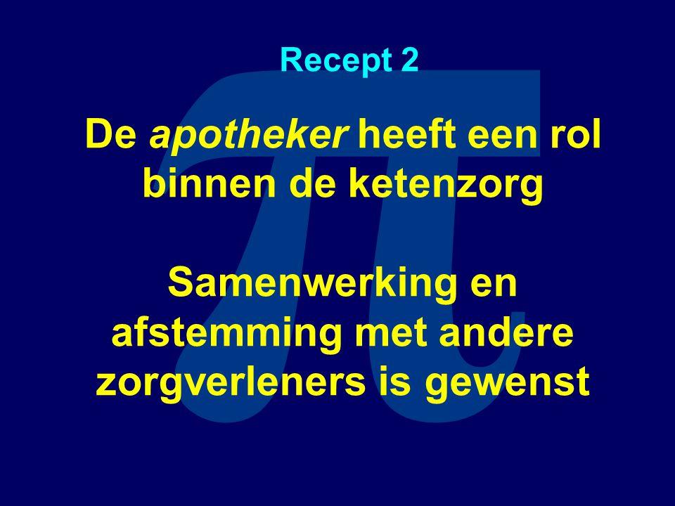 π Recept 2 De apotheker heeft een rol binnen de ketenzorg Samenwerking en afstemming met andere zorgverleners is gewenst