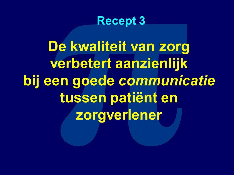 π Recept 3 De kwaliteit van zorg verbetert aanzienlijk bij een goede communicatie tussen patiënt en zorgverlener