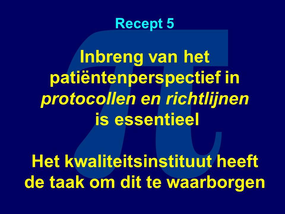 π Recept 5 Inbreng van het patiëntenperspectief in protocollen en richtlijnen is essentieel Het kwaliteitsinstituut heeft de taak om dit te waarborgen