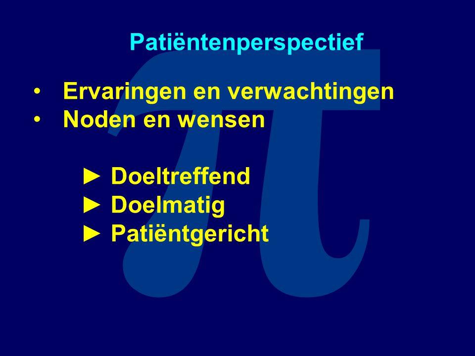 π Patiëntenperspectief Ervaringen en verwachtingen Noden en wensen ► Doeltreffend ► Doelmatig ► Patiëntgericht