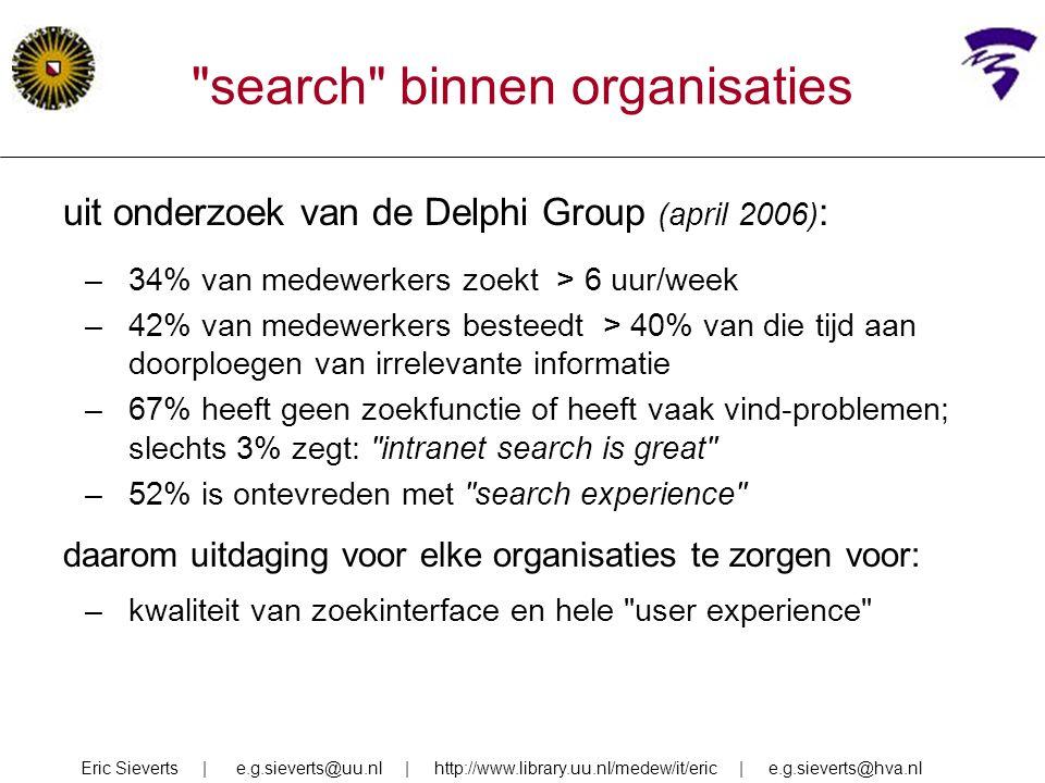 uit onderzoek van de Delphi Group (april 2006) : –34% van medewerkers zoekt > 6 uur/week –42% van medewerkers besteedt > 40% van die tijd aan doorploe