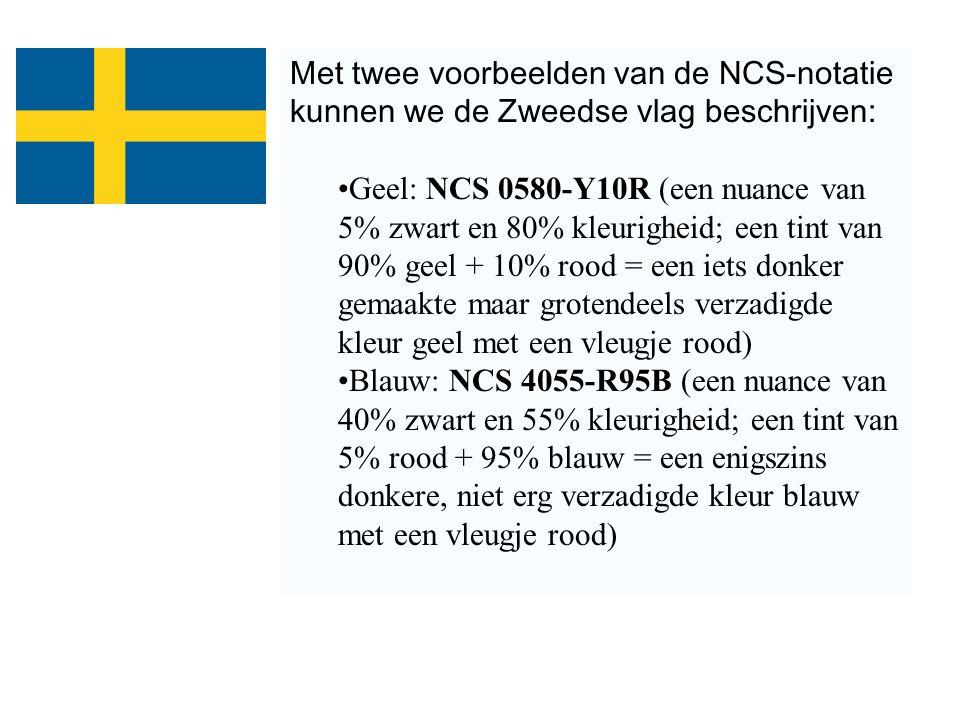 Met twee voorbeelden van de NCS-notatie kunnen we de Zweedse vlag beschrijven: Geel: NCS 0580-Y10R (een nuance van 5% zwart en 80% kleurigheid; een ti