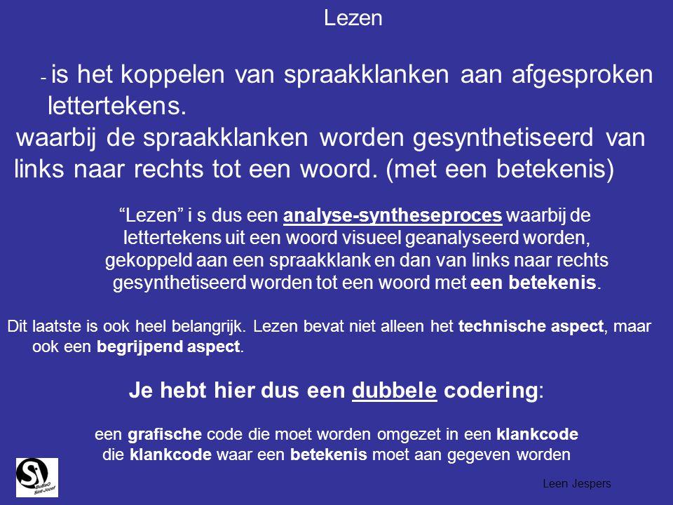 Lezen - is het koppelen van spraakklanken aan afgesproken lettertekens. waarbij de spraakklanken worden gesynthetiseerd van links naar rechts tot een