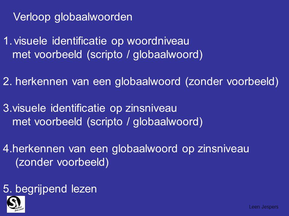 1.visuele identificatie op woordniveau met voorbeeld (scripto / globaalwoord) 2. herkennen van een globaalwoord (zonder voorbeeld) 3.visuele identific