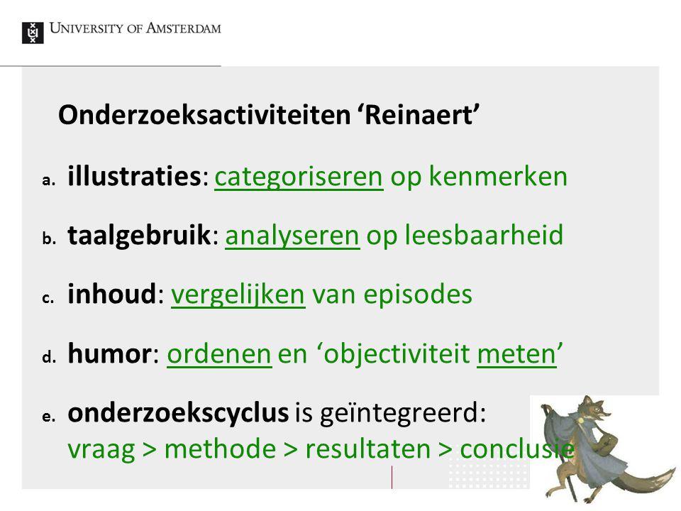 Onderzoeksactiviteiten 'Reinaert' a. illustraties: categoriseren op kenmerken b. taalgebruik: analyseren op leesbaarheid c. inhoud: vergelijken van ep