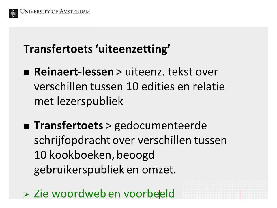 Transfertoets 'uiteenzetting' Reinaert-lessen > uiteenz. tekst over verschillen tussen 10 edities en relatie met lezerspubliek Transfertoets > gedocum