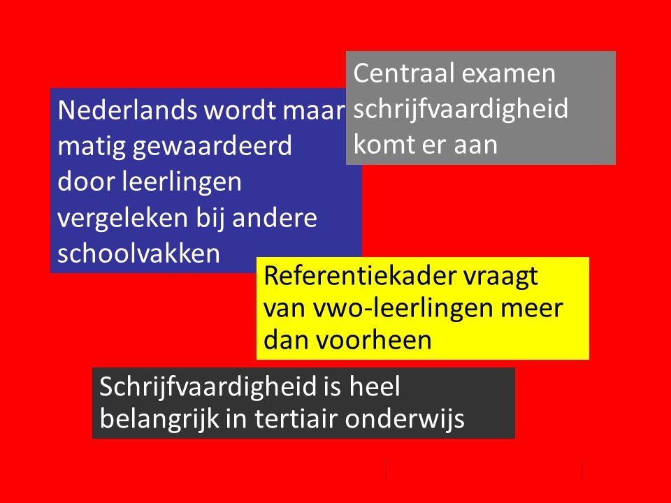 Nederlands wordt maar matig gewaardeerd door leerlingen vergeleken bij andere schoolvakken Referentiekader vraagt van vwo-leerlingen meer dan voorheen