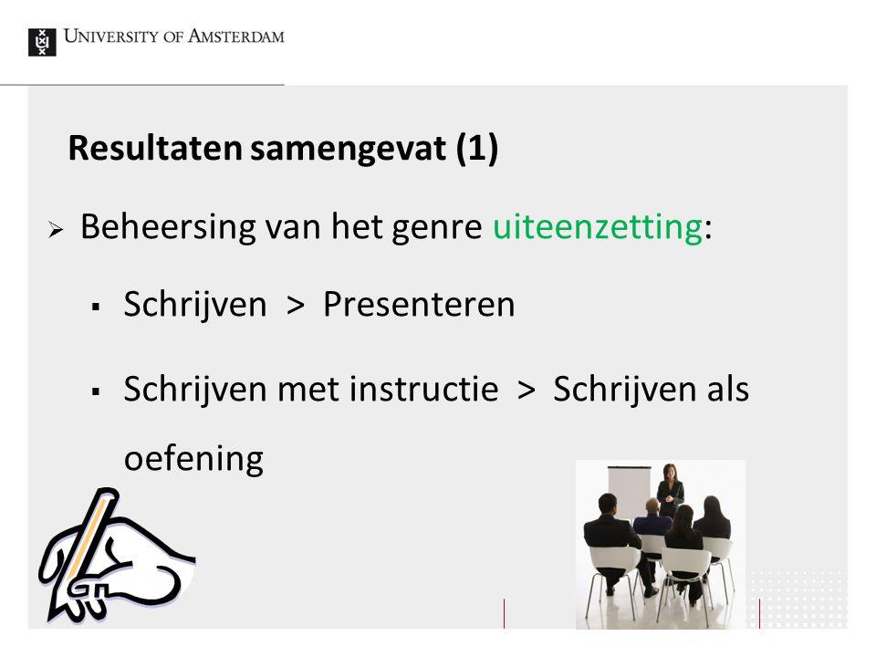 Resultaten samengevat (1)  Beheersing van het genre uiteenzetting:  Schrijven > Presenteren  Schrijven met instructie > Schrijven als oefening