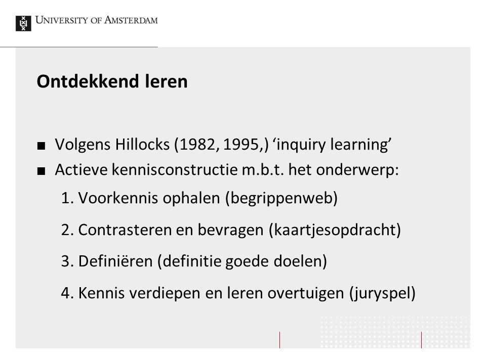 Ontdekkend leren Volgens Hillocks (1982, 1995,) 'inquiry learning' Actieve kennisconstructie m.b.t. het onderwerp: 1. Voorkennis ophalen (begrippenweb