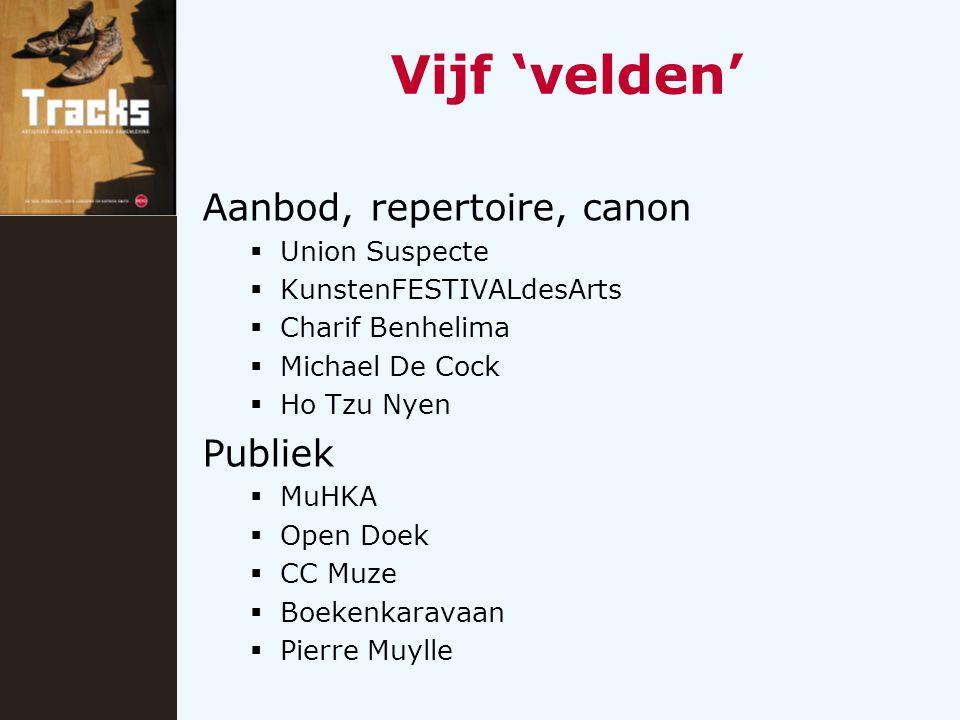 Vijf 'velden' Aanbod, repertoire, canon  Union Suspecte  KunstenFESTIVALdesArts  Charif Benhelima  Michael De Cock  Ho Tzu Nyen Publiek  MuHKA 