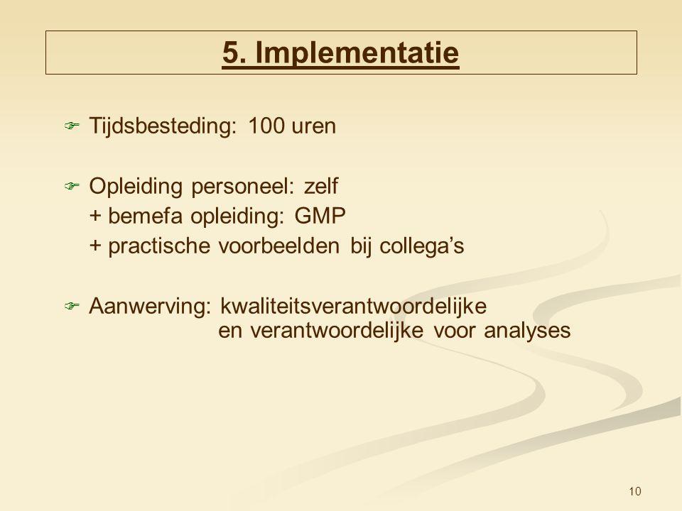 10  Tijdsbesteding: 100 uren  Opleiding personeel: zelf + bemefa opleiding: GMP + practische voorbeelden bij collega's  Aanwerving: kwaliteitsveran