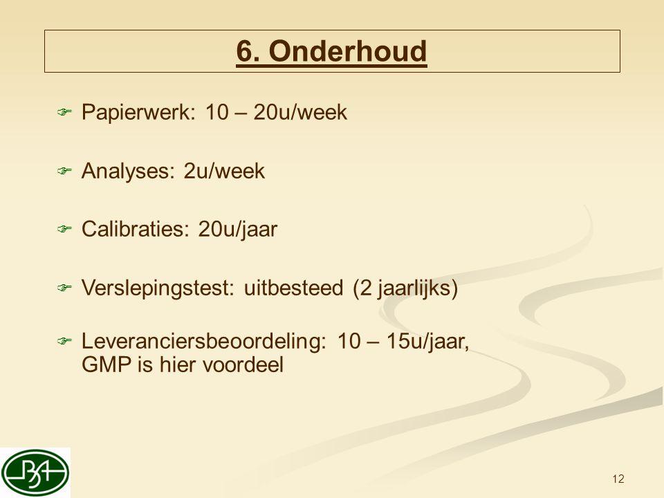 12  Papierwerk: 10 – 20u/week  Analyses: 2u/week  Calibraties: 20u/jaar  Verslepingstest: uitbesteed (2 jaarlijks)  Leveranciersbeoordeling: 10 –