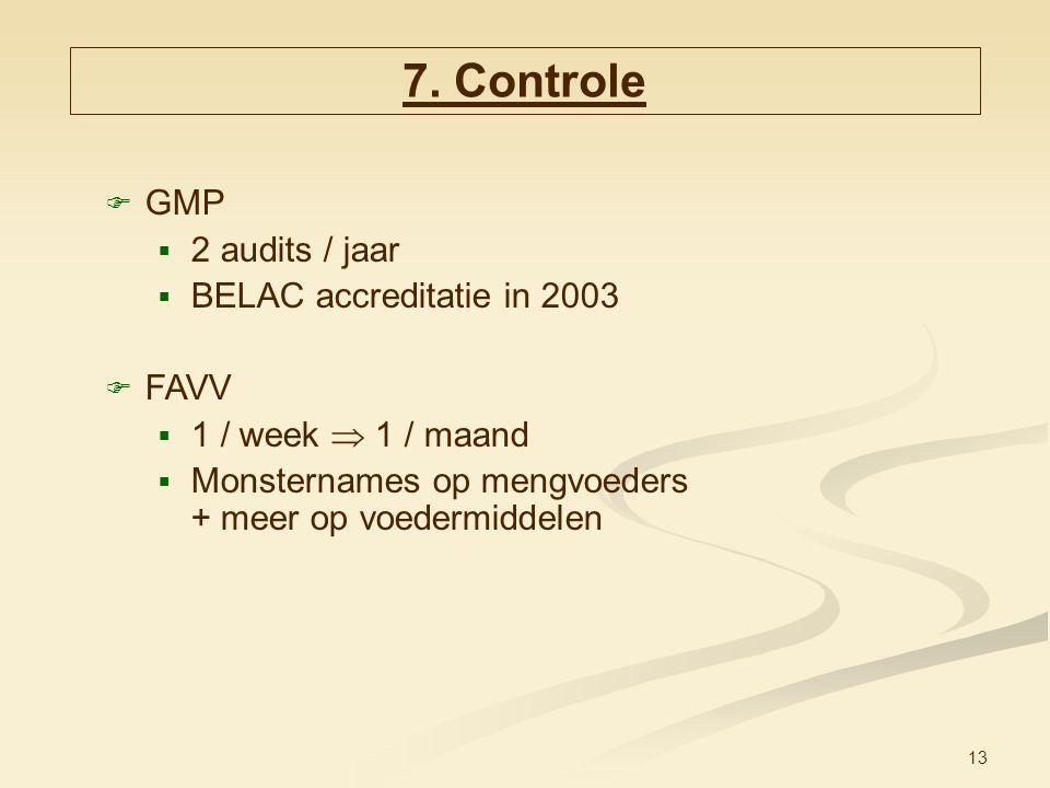 13  GMP  2 audits / jaar  BELAC accreditatie in 2003  FAVV  1 / week  1 / maand  Monsternames op mengvoeders + meer op voedermiddelen 7. Contro