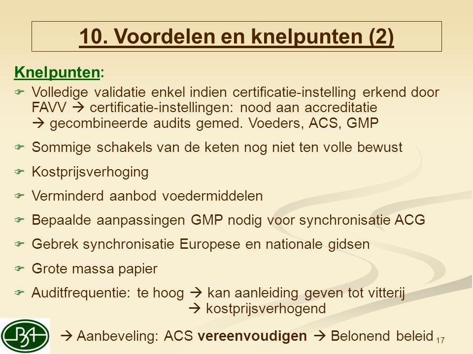 17 Knelpunten :  Volledige validatie enkel indien certificatie-instelling erkend door FAVV  certificatie-instellingen: nood aan accreditatie  gecom