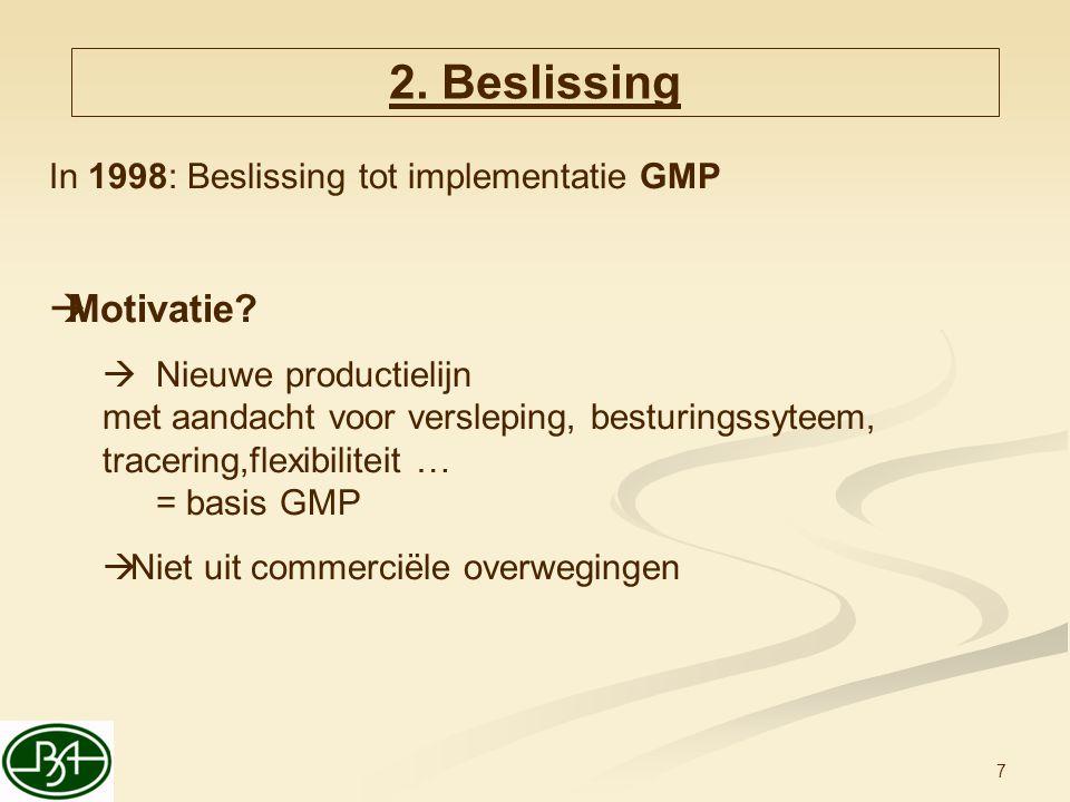 7 2. Beslissing In 1998: Beslissing tot implementatie GMP  Motivatie?  Nieuwe productielijn met aandacht voor versleping, besturingssyteem, tracerin