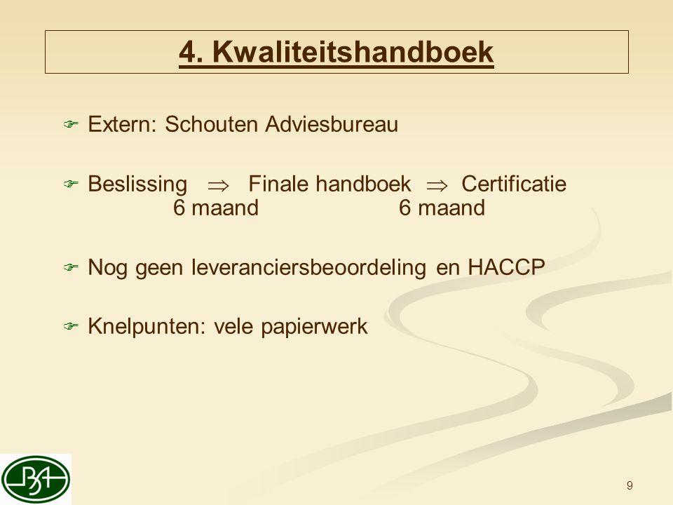 9  Extern: Schouten Adviesbureau  Beslissing  Finale handboek  Certificatie 6 maand6 maand  Nog geen leveranciersbeoordeling en HACCP  Knelpunte