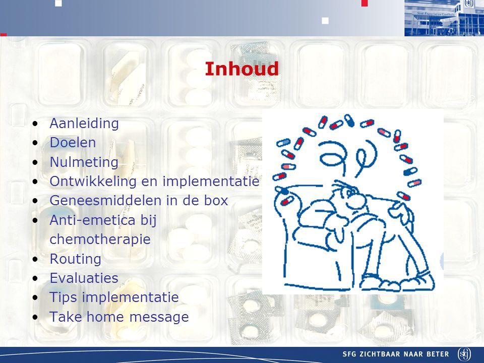 APOTHEEK Inhoud Aanleiding Doelen Nulmeting Ontwikkeling en implementatie Geneesmiddelen in de box Anti-emetica bij chemotherapie Routing Evaluaties Tips implementatie Take home message