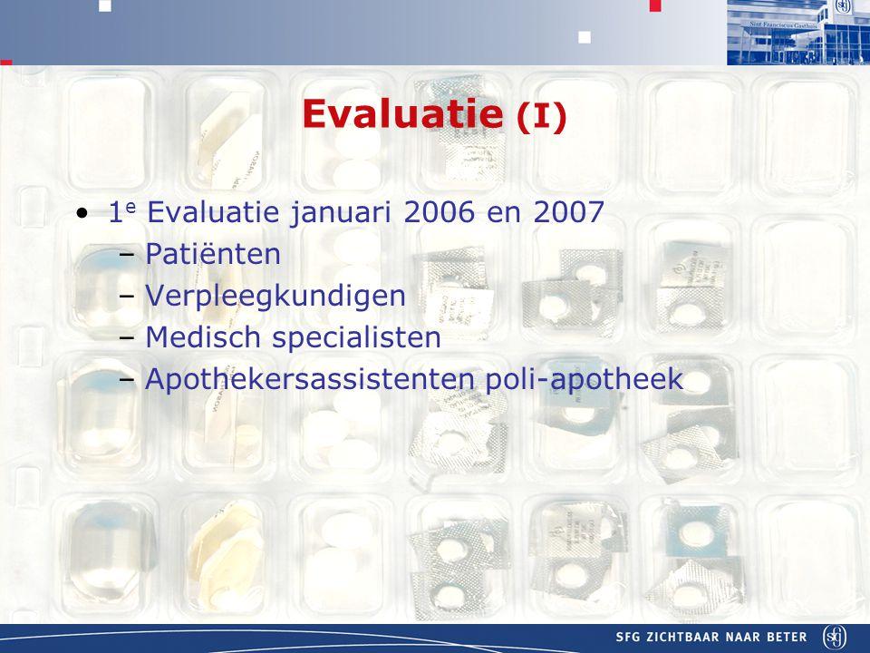 APOTHEEK Evaluatie (I) 1 e Evaluatie januari 2006 en 2007 –Patiënten –Verpleegkundigen –Medisch specialisten –Apothekersassistenten poli-apotheek