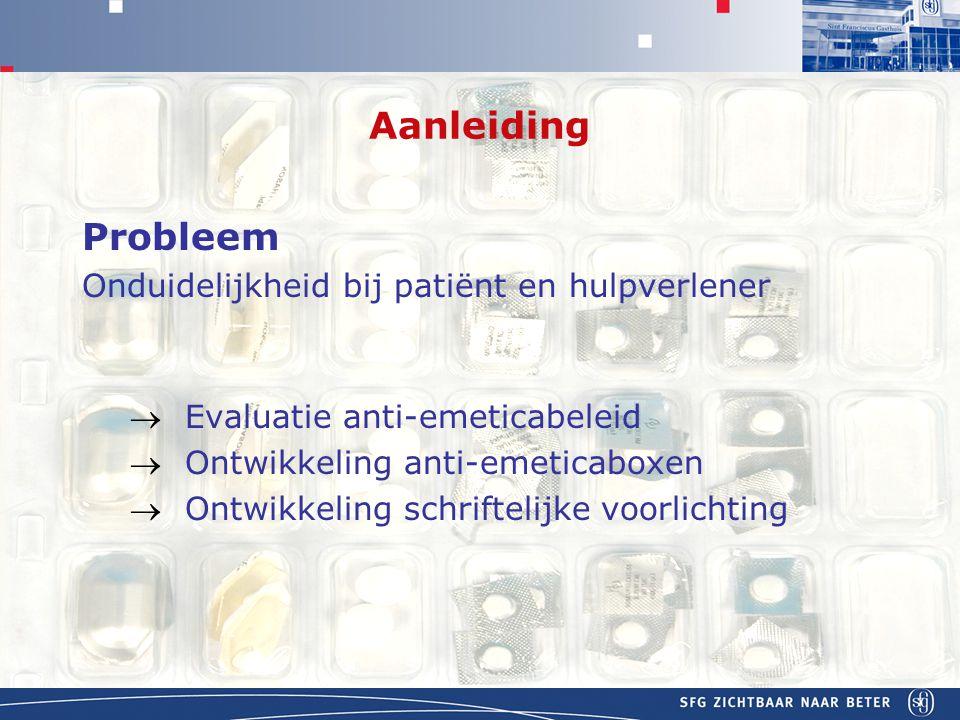 APOTHEEK Aanleiding Probleem Onduidelijkheid bij patiënt en hulpverlener  Evaluatie anti-emeticabeleid  Ontwikkeling anti-emeticaboxen  Ontwikkeling schriftelijke voorlichting