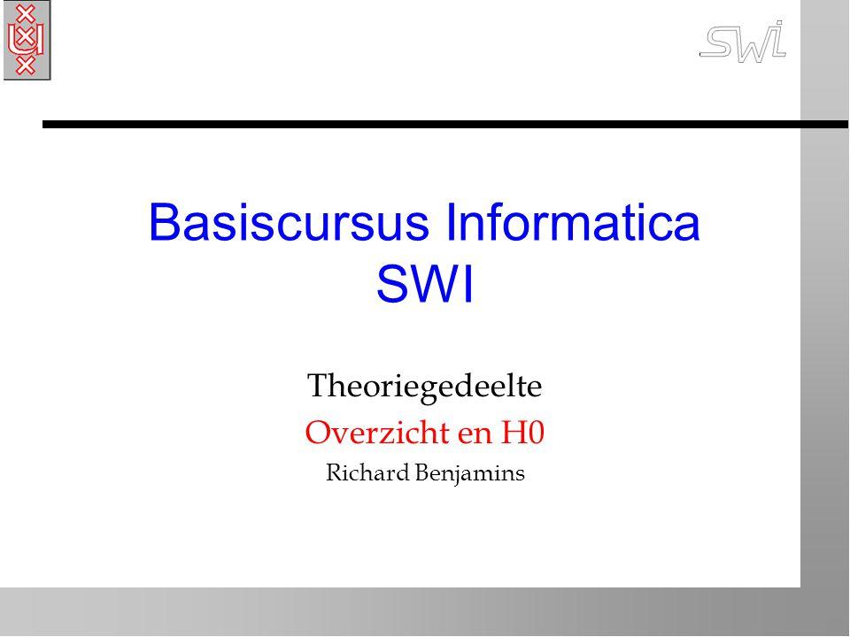 Basiscursus Informatica SWI Theoriegedeelte Overzicht en H0 Richard Benjamins