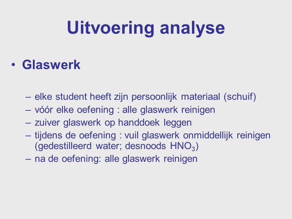 Uitvoering analyse Glaswerk –elke student heeft zijn persoonlijk materiaal (schuif) –vóór elke oefening : alle glaswerk reinigen –zuiver glaswerk op h